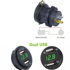 Universal 12V 3.1A Car Motorcycle Dual USB Charger LED Light Voltage Voltmeter