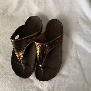 Fit Flop Electra brown sequins sandals sz. 8
