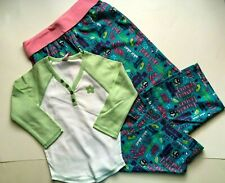 NWT Limited Too 2 PC Outfit White Green PJ Top 7 & Pink Pajama Pants 6 7 Set