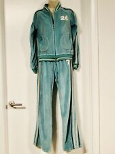 BCBG MAXAZRIA VINTAGE Velour TRACK Suit, Light green/blue, M, Fitness Athleisure