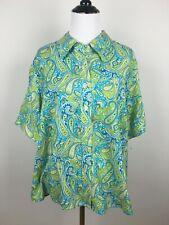 Liz Claiborne Womens Shirt Blouse Silk Green Blue Paisley Top Size Petite 2