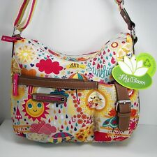 Lily Bloom Spring Showers Kathryn Classic Hobo Purse Karma Fabric Faux Leather