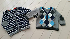 H&M BABY BOY PATCH ELBOWS SET OF 2 CARDIGAN BUTTON SWEATERS PLAID 6-9 MONTHS
