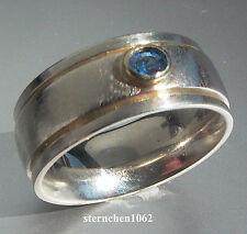 Einzelstück * Ring * 925 Silber * 750 Gold * Safir *