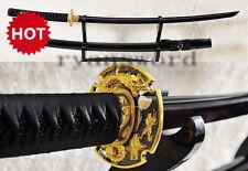 Black Japanese Samurai Sword Katana Damascus Folded Steel Blade Dragon Fittings