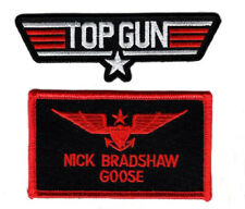 Goose Top Gun School Name Badge Costume Patch (2PC Set - Hook Fastener)