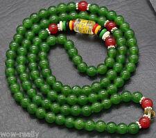 6mm Natural Green Jade Tibet Buddhist 108 Prayer Beads Mala Necklace meditation