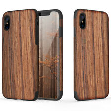 For Apple iPhone XS/X/8/7 Plus Real Wood Wooden Slim Fit Hybrid TPU Case Cover