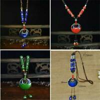 Antique Ceramics Beads Pendant Ethnic Long Necklace Chain Jewelry Style Gift UK