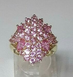 Fantastic Pink Topaz  Statement Cluster  Ring 9ct Yellow Gold  Sz N1/2