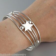 Star Cuff Bracelet - 925 Sterling Silver - Stars Jewelry Celestial Space Sky NEW