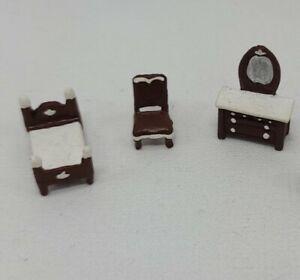 1:144 Miniature Dollhouses' Dollhouse Tiny Metal Bedroom Set Micro Furniture