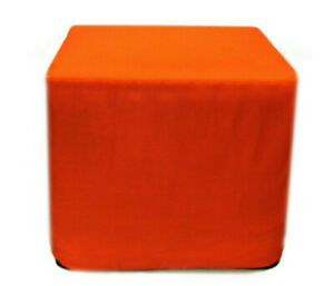 """Indian Vintage 16"""" Plain Square Ottoman Pouf Cover Footstool Seating Case Cotton"""