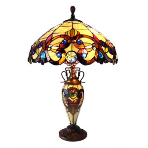 Tiffany Style Victorian Double Lit Antique Bronze Table Lamp Beige Stained Glass