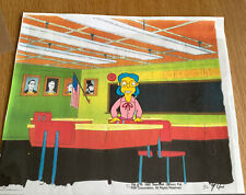 The Simpsons cel - RARE Elizabeth Hoover With Blue Hair School Teacher Original