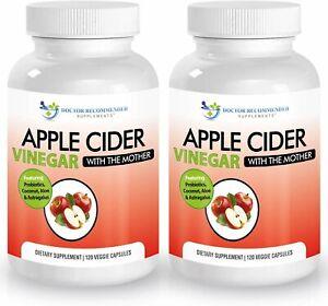Apple Cider Vinegar Capsules - 100% Organic Apple Cider Vinegar Pills 1500 mg...