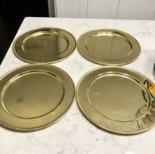 """BRASS GOLD METAL CHARGER PLATES 12"""" BEADED SET of 4"""