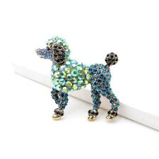 Fashion Rhinestone Dog Brooches Metal Animal Party Poodle Pin Women Jewelry Gift