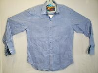 Robert Graham Mens Blue White Plaid Check Long Sleeve Button Up Shirt Sz Medium