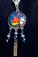 "Zhostovo Russian Flowers Pendant Necklace, Beads, ""Family"" Dangle,Cabochon 30mm"