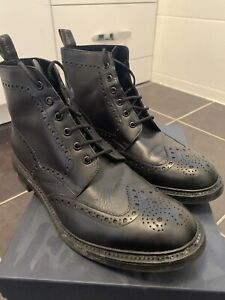 MENS LOAKE BEDALE BLACK BROGUE BOOTS SIZE UK 11 G FIT