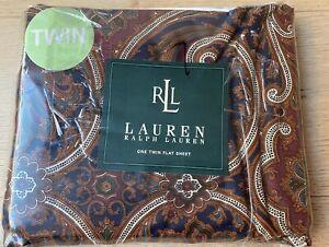 Ralph Lauren Parker Paisley Brown Blue Twin Flat Sheet NEW 200 Thread Count