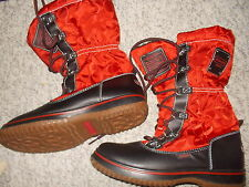 "COACH ""SHAINE"" NYLON BLACK & RED LACE-UP WINTER BOOTS WOMEN MISMATCHED 7 & 7.5"