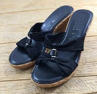 Italian Shoemakers Womens Sandals Heels Shoes Size 7 Black Wedge Platform Dressy