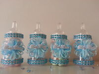 12 Blue Fillable Bottles for Baby Shower Favors Prizes or Games Boy Decorations