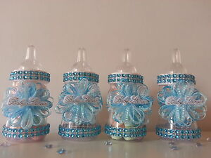 12 Blue Fillable Bottles   Baby Shower Decoration   Favors Prizes or Games Boy