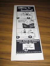 1956 Print Ad Yellow Pages Phone Book Driving School Cartoon