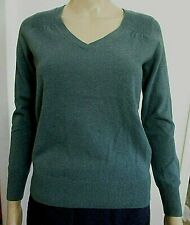 Talbots Petite cashmere pullover sweater SP deep sage green V neck ribbed detail