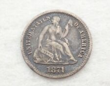 Antique 1871 Seated Liberty Half Dime Silver Coin