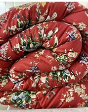 Ralph Lauren Belle Harbor Comforter KING Red Floral Cotton French Country EUC