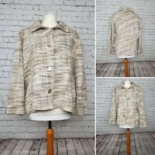 Weave Of The Irish Beige MultiColoured Knit Tweed Effect Jacket Coat Large 16 18
