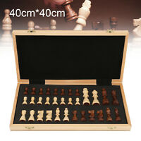 40x40cm Large Chess Wooden Set Folding Chessboard Magnetic Pieces Wood Board UK