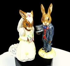 Royal Doulton Db101 Db102 Manuella Yates Signed Bride Groom Bunnykins Figurines