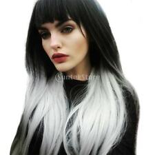 26'' Black to White Ombre Wigs Long Straight Synthetic Wig For Daily+Net Cap
