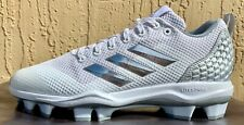 New listing Mens Adidas Power Alley 5 Baseball Cleats Size 13 WHITE/SILVER (MOLDED)