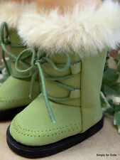 "OLIVE GREEN Suede Fur-Trim DOLL BOOTS SHOES fits 18"" AMERICAN GIRL Doll Clothes"