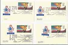 1984 Olympique Torche Course Canceled 13 Cent Cartes Postales Ara Services Seal