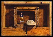 """Rapture"" Rare 1979 Original Trompe L'Oeil Oil Painting on Panel - Drew Strouble"