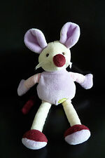 *- DOUDOU BABY NAT babynat SOURIS 27 cms mauve blanc rose bordeaux EXCELL.ETAT