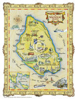 """19.5 x 25/"""" US Virgin Islands Vintage Look Map Printed on French Parchment Paper"""
