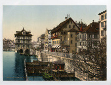 P.Z.  Suisse, Zurich, Rathaus & Rathausquai, Circa 1880, photochromie, vintage p