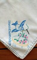 """Hand Embroidered Bird Square Card Table Tablecloth Handmade Vintage 31"""""""