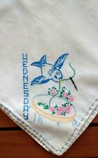 Retro Handmade Hand Embroidered Bird Square Card Table Tablecloth Vintage