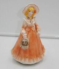 "Vintage Musical Spinning Porcelain 7.75"" Lady Figurine Plays ""Speak Softly Love"""