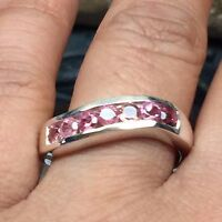 Natural 2.5ct Rubellite Tourmaline 925 Solid Sterling Silver Band Ring sz 8