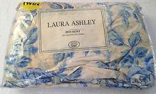 "NIP ! LAURA ASHLEY Bedskirt Vintage Pelham Stripe ""Blue Rose"" with 14"" drop"